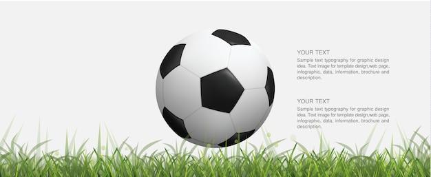 Balón de fútbol en campo de hierba verde y luz de fondo bokeh borrosa