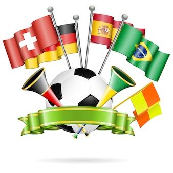 Balón de fútbol con cinta y banderas