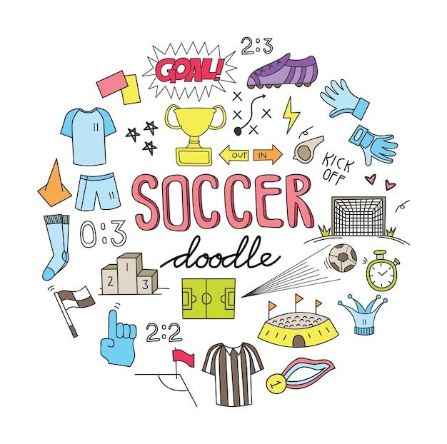 Balón de fútbol doodle conjunto ilustración vectorial