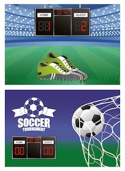 Balón de fútbol con equipo de zapatos y trofeo.