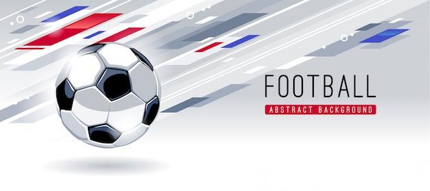 Balón de fútbol europeo tradicional sobre fondo abstracto dinámico con espacio de copia. plantilla de vector de banner de fútbol.