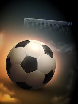 Balón de fútbol y fondo de meta de acero