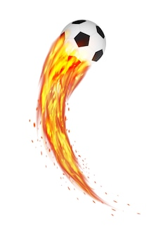 Un balón de fútbol con fuego ardiente
