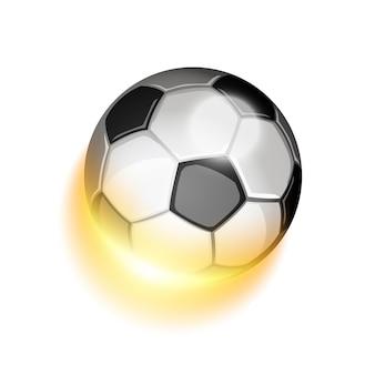 Balón de fútbol en fuego. efectos brillantes y brillantes con transparencias.