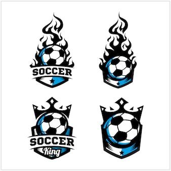 Balón de fútbol fuego y logo insignia del rey