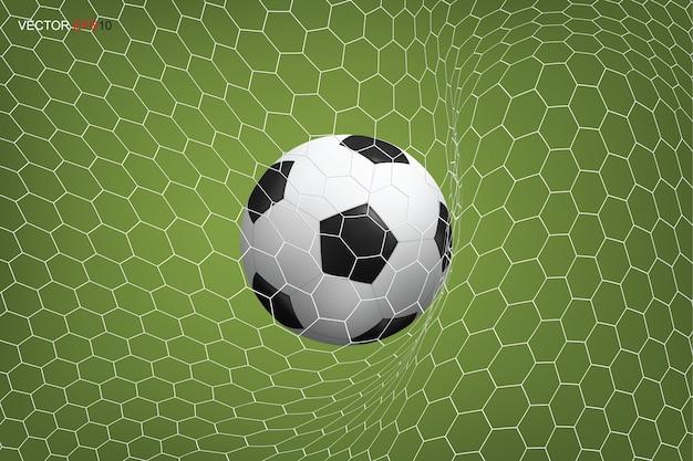 Balón de fútbol en portería y red blanca