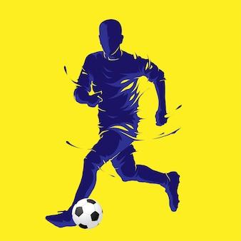 Balón de fútbol posando silueta azul