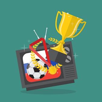 Balón de fútbol y premios en la televisión con el fondo de la bandera de rusia