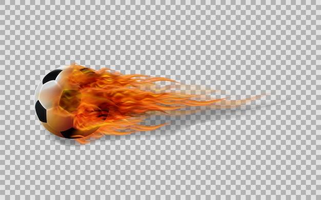 Balón de fútbol del vector en fuego en fondo transparente.