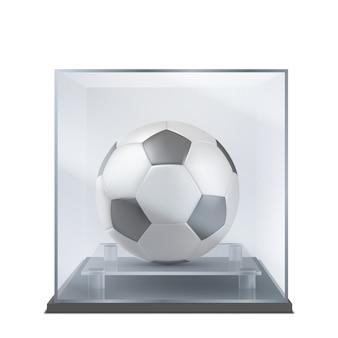 Balón de fútbol bajo vector realista de la caja de cristal