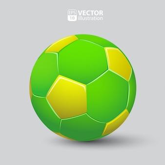 Balón de fútbol en verde y amarillo realista aislado
