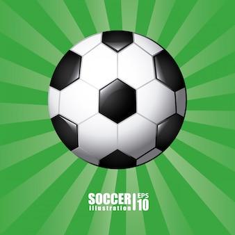 Balón de fútbol en verde
