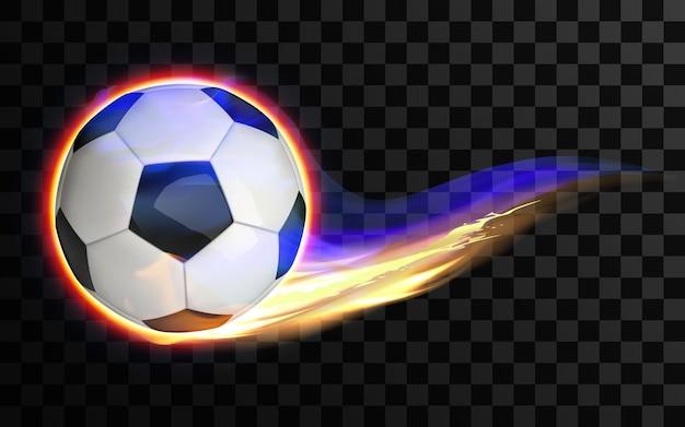 Balón de fútbol volador y ardiente sobre fondo transparente. fútbol.