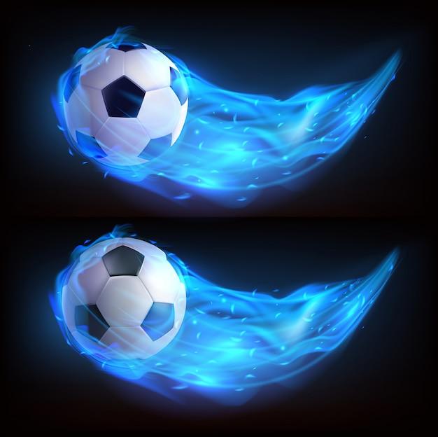 Balón de fútbol volando en fuego azul