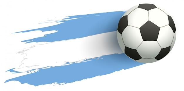 Balón de fútbol volar fondo bandera de argentina