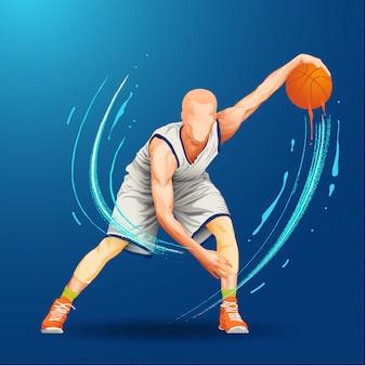 Balón de goteo de jugador de baloncesto