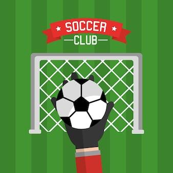 Balón de portero de mano de club de fútbol y rojo