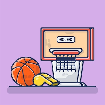 Baloncesto con aro y silbato