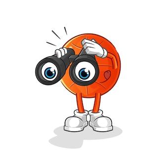 Baloncesto con carácter de binoculares.
