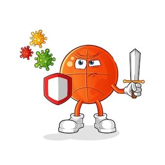 Baloncesto contra dibujos animados de virus.