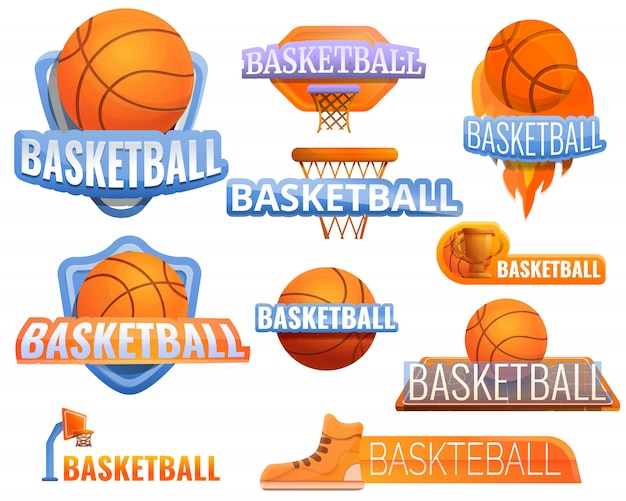 Baloncesto deporte logo conjunto, estilo de dibujos animados