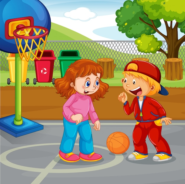 Baloncesto infantil en el parque.