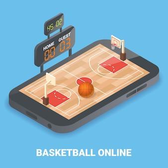 Baloncesto en línea plano isométrico