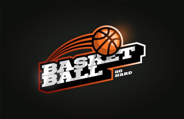 Baloncesto moderno logotipo de deporte profesional en estilo retro