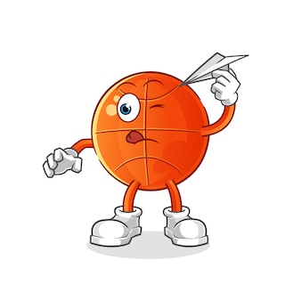 Baloncesto con personaje de avión de papel. mascota de dibujos animados