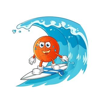 Baloncesto surfeando en el carácter de la ola.