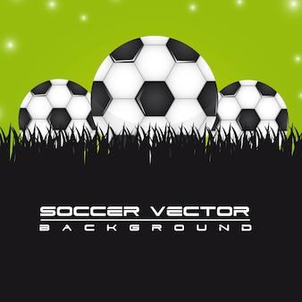 Balones de fútbol sobre la ilustración de vector de fondo de hierba