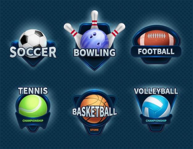 Balones deportivos, etiquetas vectoriales y emblemas deportivos.