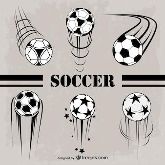 Balones de fútbol en blanco y negro