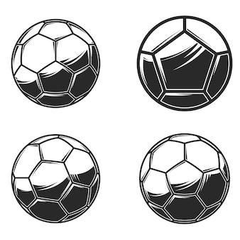 Balones de fútbol de fútbol sobre fondo blanco. elemento de diseño de logotipo, etiqueta, letrero, cartel, tarjeta, banner. ilustración vectorial