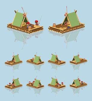 Balsa isométrica de madera lowpoly 3d