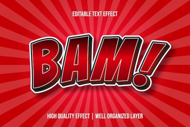 Bam! efecto de texto de estilo cómico de dibujos animados