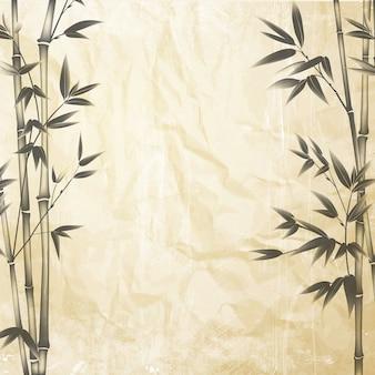Bambú chino en el fondo de papel viejo