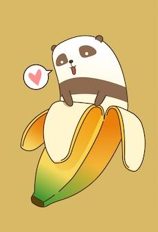 Banana panda en estilo de dibujos animados.