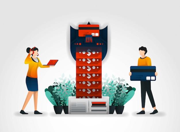 Banca y cajeros automáticos equipados con sistemas de seguridad.