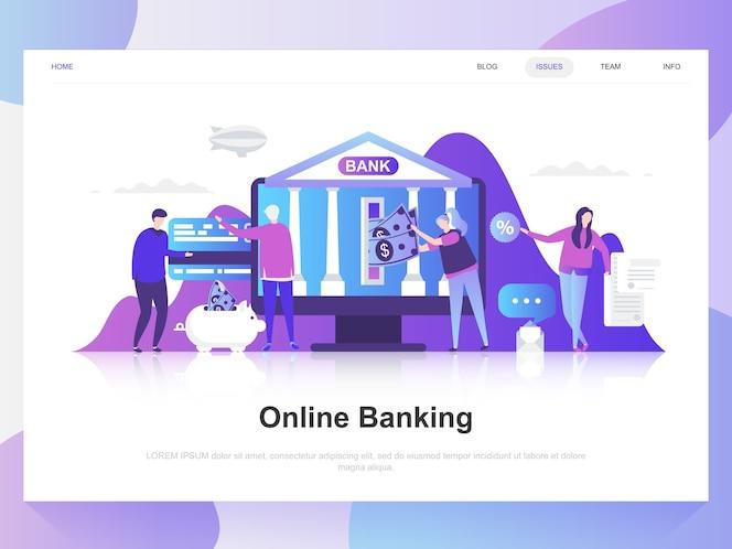 Banca en línea moderno concepto de diseño plano.