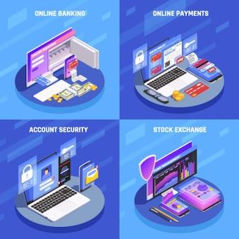 Banca por internet 4 iconos isométricos concepto cuadrado con pantalla de bolsa de valores de seguridad de cuenta