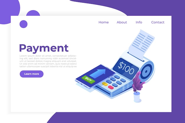 Banca por internet, pago móvil digital, concepto isométrico de terminal pos isométrico.