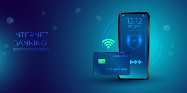 Banca por internet y telefonía móvil isométrica. transacción de seguridad de pago en línea mediante tarjeta de crédito. protección de compras inalámbrica paga a través de teléfono inteligente.