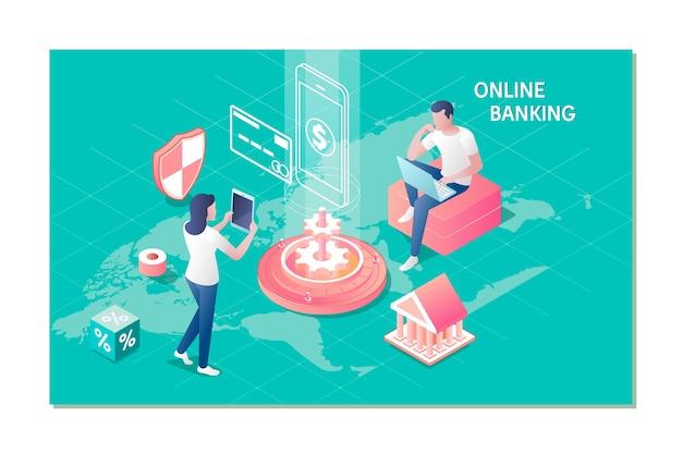 Banca en línea para banner de sitio web