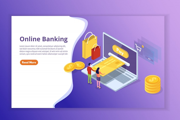 Banca en línea y compras, pagos móviles, concepto isométrico de transferencia de dinero. ilustración.