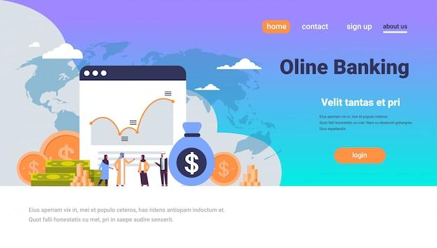 Banca en línea consulta de personas árabes dinero gráfico crecimiento riqueza banner
