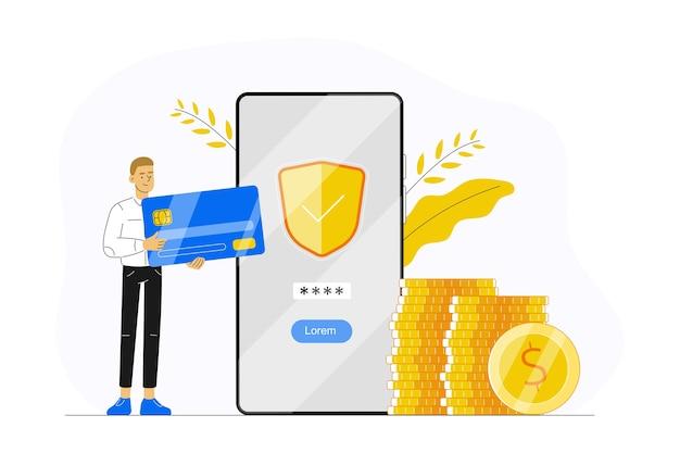 Banca en línea con un hombre que sostiene una tarjeta de crédito y realiza un pago con la aplicación de teléfono inteligente