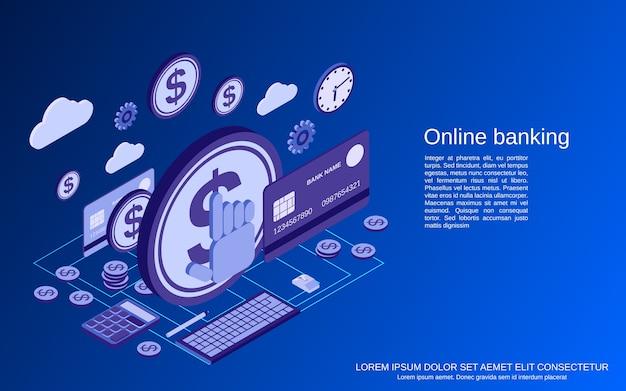 Banca en línea, ilustración de concepto isométrico de transferencia de dinero