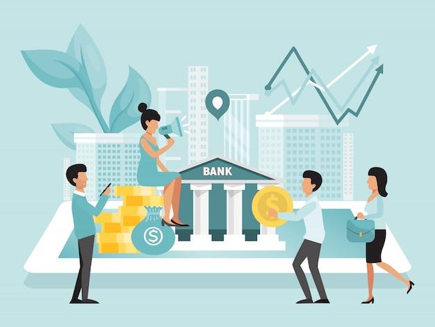 Banca en línea, inversiones financieras, crecimiento de dinero, el banco atrae a nuevos clientes para invertir, depósitos