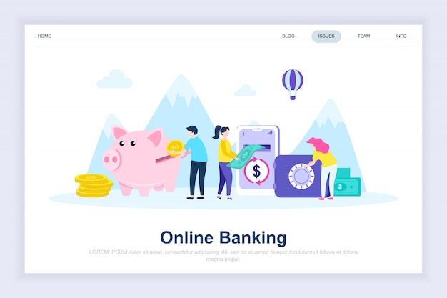 Banca en línea moderna página de destino plana